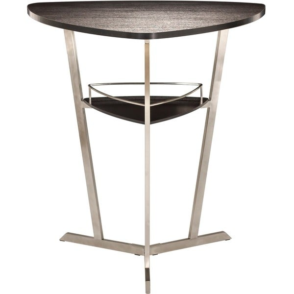 42 Inch High Brushed Stainless Steel Espresso Wood Melamine Veneer Triangle  Top Pub Table   Free Shipping Today   Overstock.com   17197720