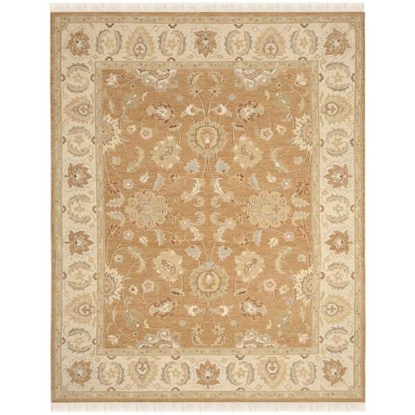 Safavieh Hand-Woven Sumak Gold/ Ivory Wool Rug - 10' x 14'
