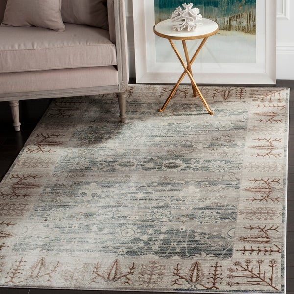 Safavieh Valencia Dark Grey/ Light Grey Distressed Silky Polyester Rug - 8' x 10'