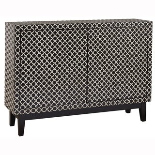 Hand Painted Black and White Finish Accent Chest