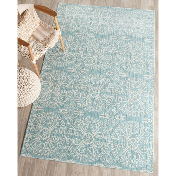 Safavieh Valencia Alpine/ Cream Distressed Silky Polyester Rug - 9' x 12'