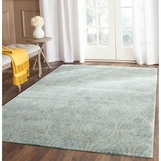 Safavieh Valencia Alpine/ Cream Distressed Silky Polyester Rug (9' x 12')