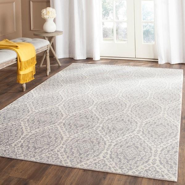 Safavieh Valencia Mauve/ Cream Distressed Silky Polyester Rug (9' x 12')