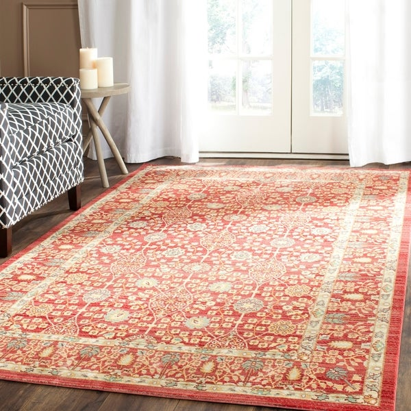 Safavieh Valencia Red Distressed Silky Polyester Rug - 8' x 10'
