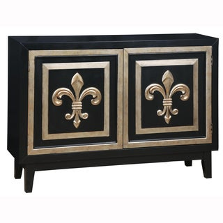 Hand Painted Distressed Midnight Black and Gold Finish Accent Chest