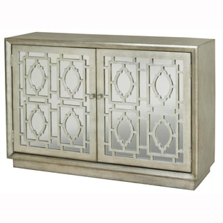 Hand Painted Distressed Silver Finish Mirrored Accent Chest