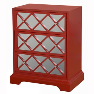 Hand Painted Red Finish Mirrored Accent Chest