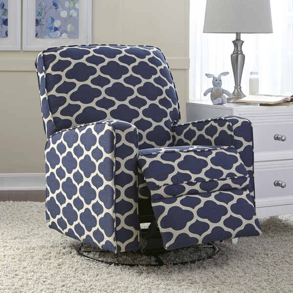 Shop Leo Blue Nursery Swivel Glider Recliner Chair Free