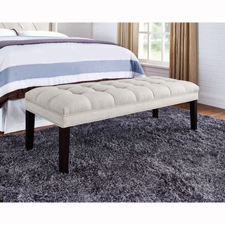 Taupe Upholstered Tufted Bench
