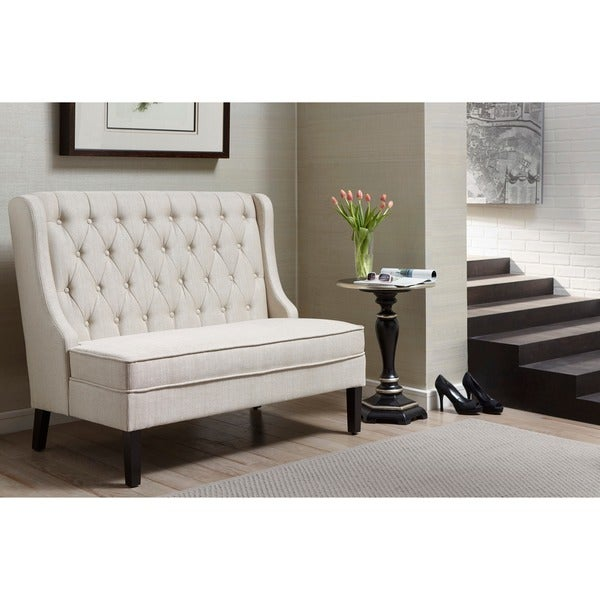 Linen Tufted Upholstered Settee Bench Free Shipping Today 17197816