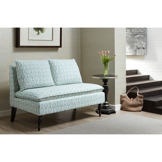 Blue/ Cream Upholstered Banquette Bench