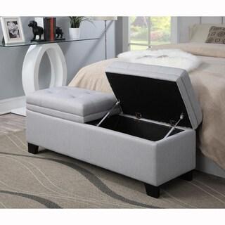 Shop Grey Upholstered Nail Head Trim Storage Bench