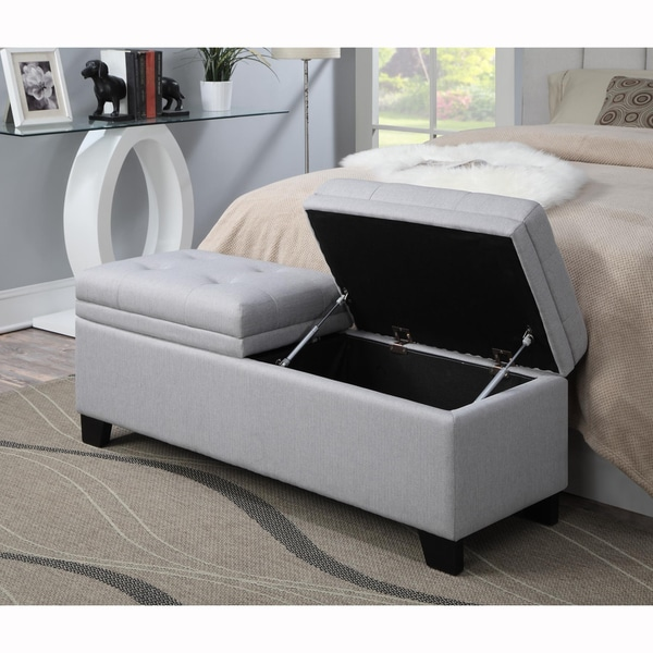 slate grey tufted upholstered storage bench ottoman