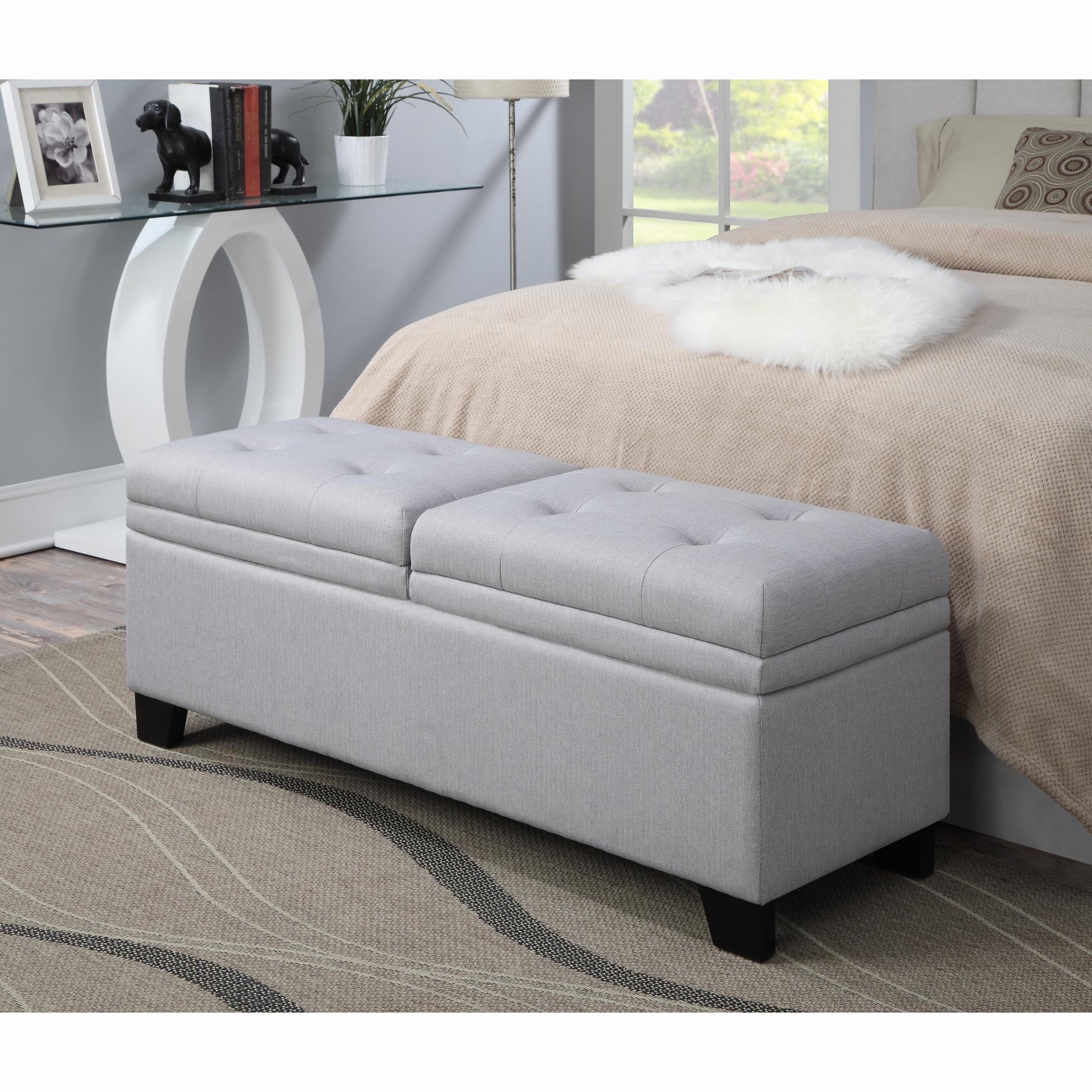 Slate Grey Tufted Upholstered Storage Bench Ottoman On Sale Overstock 10054031