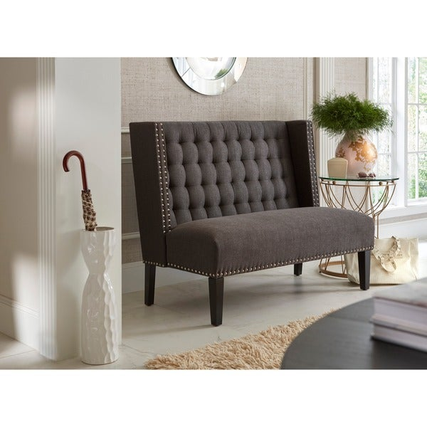 Shop Dark Grey Tufted Upholstered Banquette Bench On