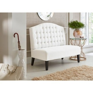 Ivory Tufted Upholstered Banquette Bench