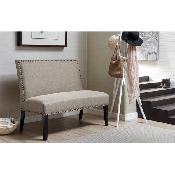 Shop Brown Upholstered Nail Head Trim Banquette Bench