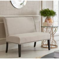 Cream Upholstered Nail Head Trim Banquette Bench