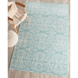 Safavieh Valencia Alpine/ Cream Distressed Silky Polyester Rug (8' x 10')