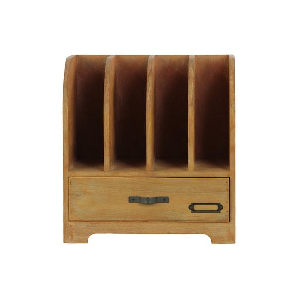 Shop Natural Wood Finish Wood File Organizer 4 Slots 1