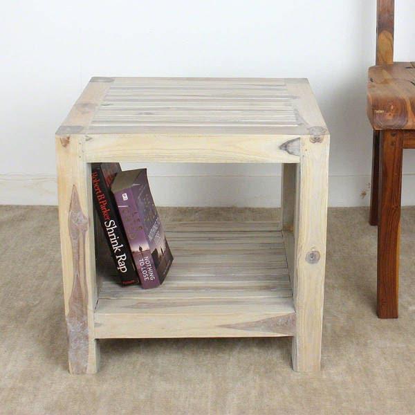 Handmade Teak Slat 18 X 16 X 18 Agate Grey End Table With Shelf (Thailand