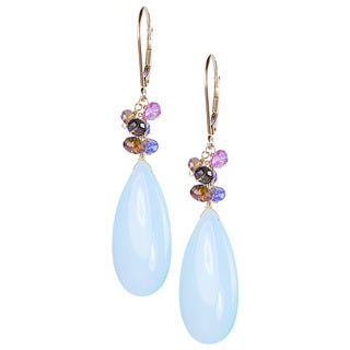 14k Yellow Gold Pear-shape Blue Chalcedony Tourmaline Tanzanite Dangle Earrings