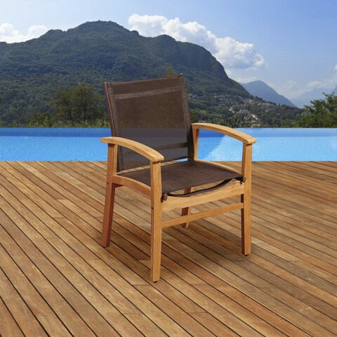 Amazonia Teak Luna Patio Dining Armchair with Brown Textile Sling