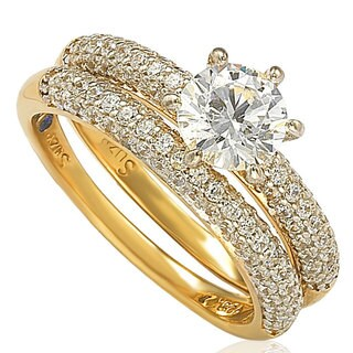 Suzy Levian Bridal Sterling Silver Cubic Zirconia Engagement Ring Band Set