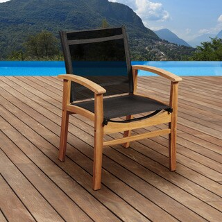 Amazonia Teak Luna Patio Dining Armchair with Black Textile Sling