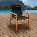Amazonia Teak Luna Patio Dining Armchair with Black Textile Sling