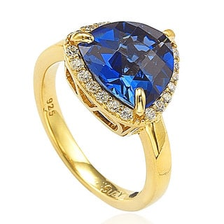 Suzy Levian Goldplated Sterling Silver Created Sapphire Ring