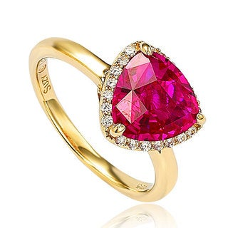 Suzy Levian Goldplated Sterling Silver Created Ruby Ring