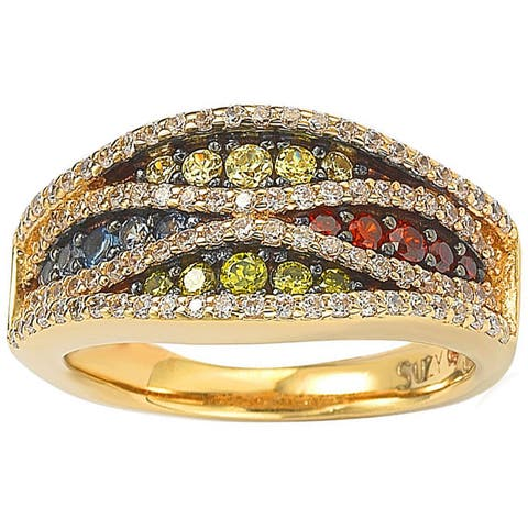 Suzy Levian Exotica Goldplated Sterling Silver Multicolor Pave Ring