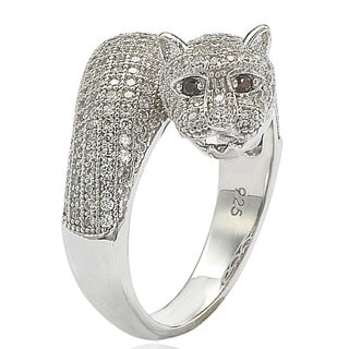 Suzy Levian Sterling Silver Cubic Zirconia Micro Pave Tiger Ring