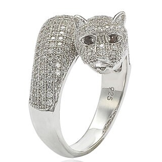 Suzy Levian Sterling Silver Cubic Zirconia Micro Pave Tiger Ring (More options available)