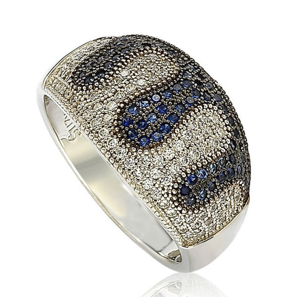 Suzy Levian Sterling Silver Blue and White Cubic Zirconia Micro Pave Ring