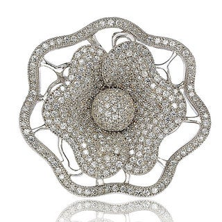 Suzy Levian Micro Pave Sterling Silver Cubic Zirconia Flower Ring