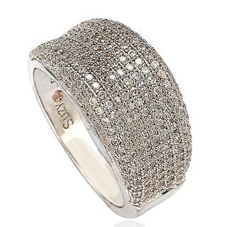 Suzy Levian Sterling Silver Cubic Zirconia Pave Anniversary Band Ring