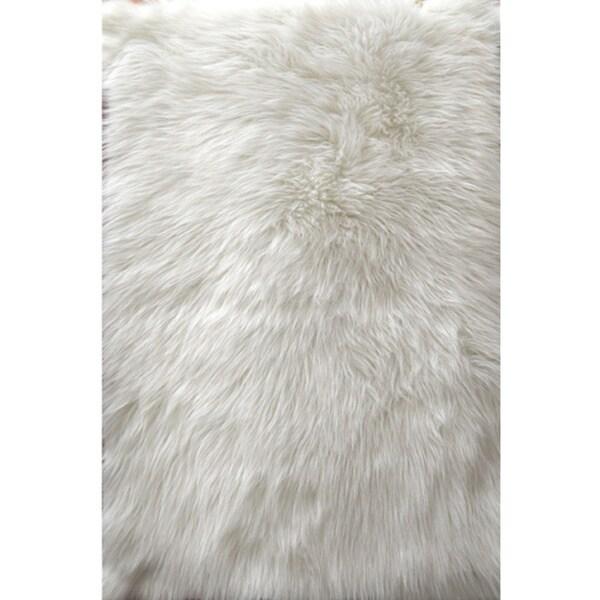 Shop Faux Fur Sheepskin White Shag Area Rug