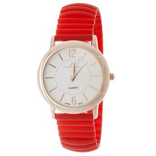 Xtreme Via Nova Women's Rose Goldtone Case/ Red Rubber Bangle Watch
