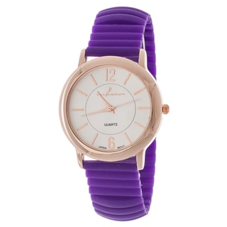 Xtreme Via Nova Women's Rose Goldtone Case/ Purple Rubber Bangle cuff Watch