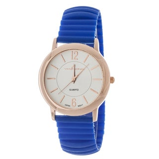 Xtreme Via Nova Women's Rose Goldtone Case/ Blue Rubber Bangle Cuff Watch