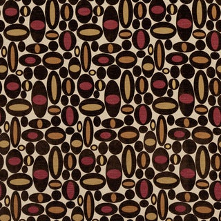 U0330A Brown/ Green and Burgundy Geometric Ovals Layered Microfiber Velvet on Cotton Upholstery Fabric