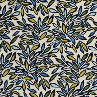 U0340B Green/ Yellow and Blue Leaves Layered Microfiber Velvet on Cotton Upholstery Fabric