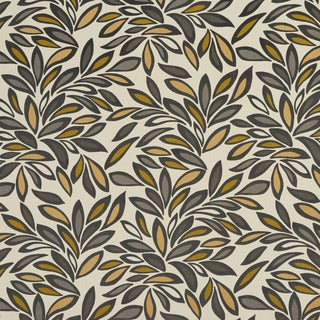 U0340C Gold/ Taupe and Green Leaves Layered Microfiber Velvet on Cotton Upholstery Fabric