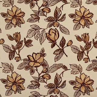 U0350A Brown Large Flowers Layered Microfiber Velvet on Cotton Upholstery Fabric