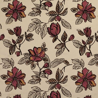 U0350C Burgundy and Brown Large Flowers Layered Microfiber Velvet on Cotton Upholstery Fabric