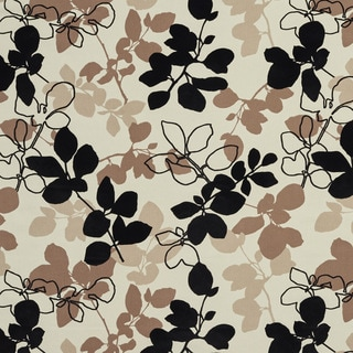 U0360A Black and Brown Leaves Layered Microfiber Velvet on Cotton Upholstery Fabric