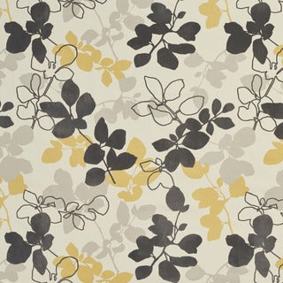 U0360B Yellow and Grey Leaves Layered Microfiber Velvet on Cotton Upholstery Fabric