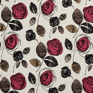 U0370B Rose and Black Roses Layered Microfiber Velvet on Cotton Upholstery Fabric